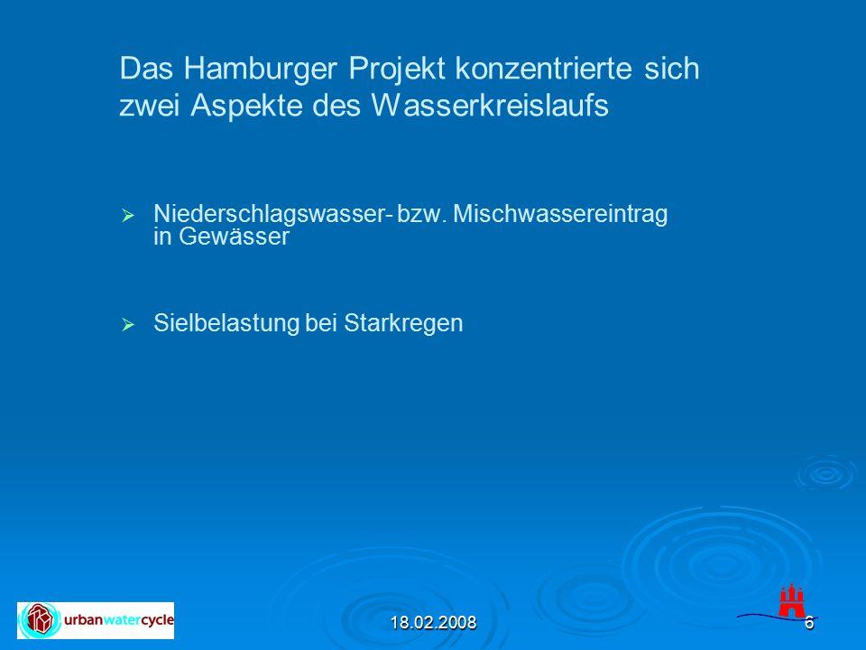 18.02.20086   Niederschlagswasser- bzw. Mischwassereintrag in Gewässer   Sielbelastung bei Starkregen Das Hamburger Projekt konzentrierte sich zwe