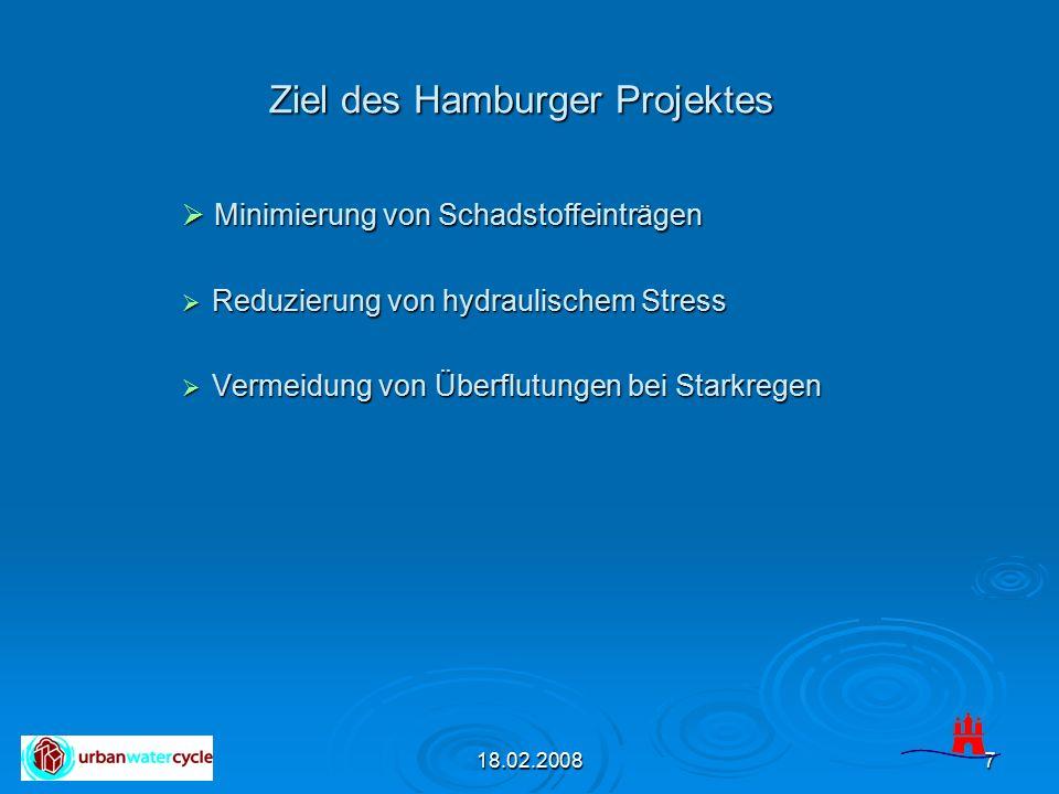 18.02.20087 Ziel des Hamburger Projektes  Minimierung von Schadstoffeinträgen  Reduzierung von hydraulischem Stress  Vermeidung von Überflutungen b
