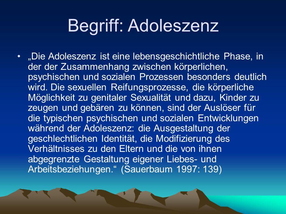 """Begriff: Adoleszenz """"Die Adoleszenz ist eine lebensgeschichtliche Phase, in der der Zusammenhang zwischen körperlichen, psychischen und sozialen Prozessen besonders deutlich wird."""