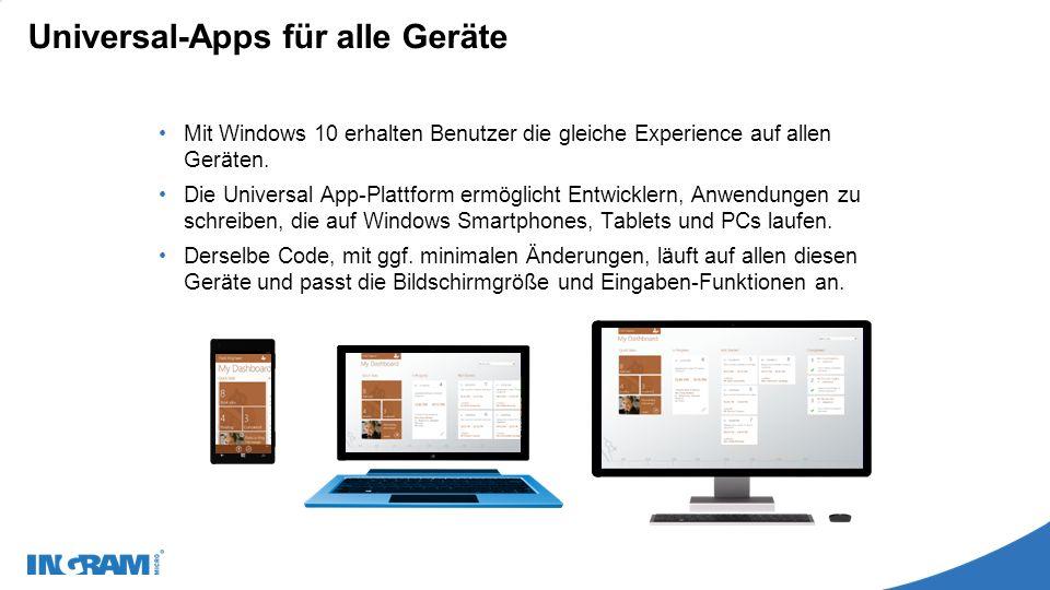 Universal-Apps für alle Geräte Mit Windows 10 erhalten Benutzer die gleiche Experience auf allen Geräten.