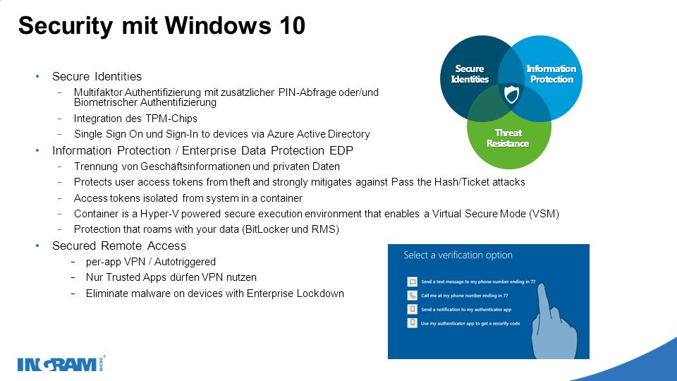 Security mit Windows 10 Secure Identities − Multifaktor Authentifizierung mit zusätzlicher PIN-Abfrage oder/und Biometrischer Authentifizierung − Inte