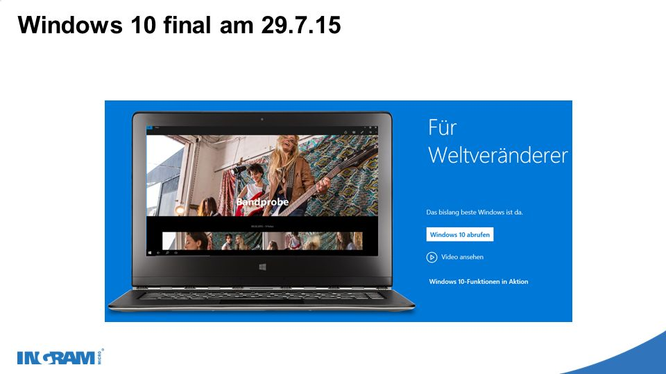 Windows 10 final am 29.7.15