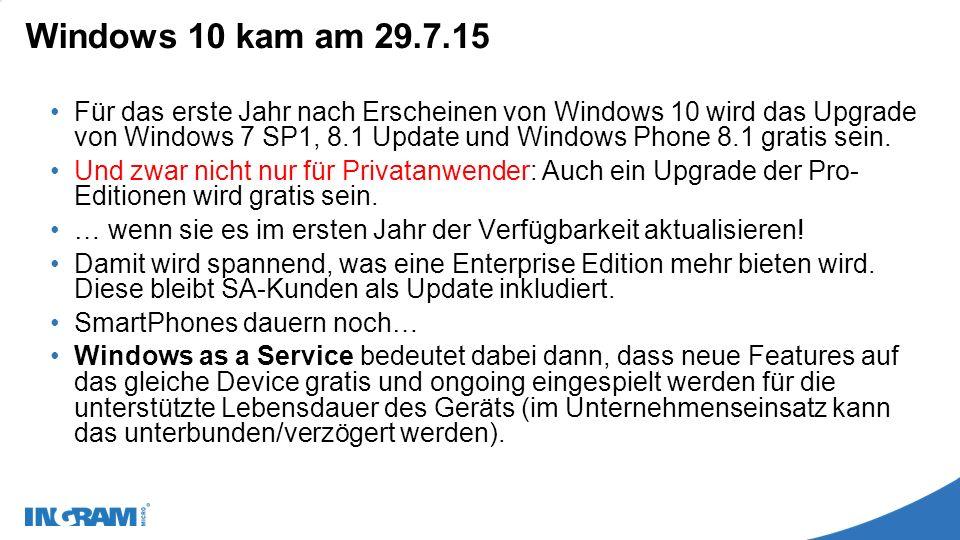 Windows 10 kam am 29.7.15 Für das erste Jahr nach Erscheinen von Windows 10 wird das Upgrade von Windows 7 SP1, 8.1 Update und Windows Phone 8.1 gratis sein.