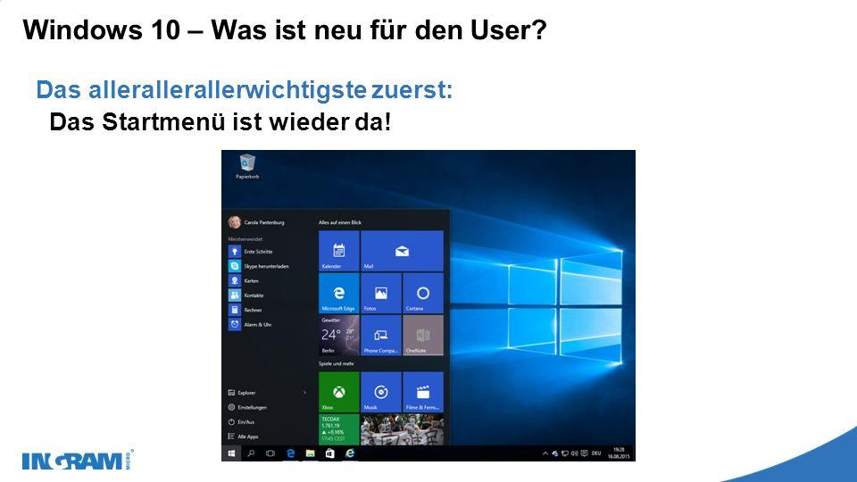 Windows 10 – Was ist neu für den User. Das Startmenü ist wieder da.