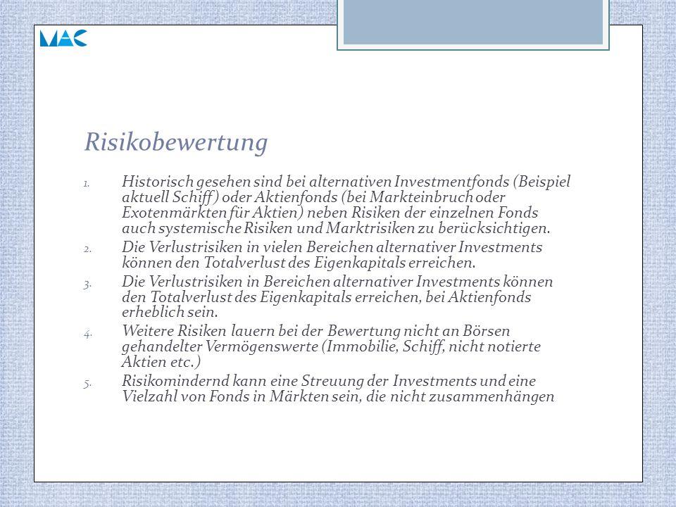 Risikobewertung 1. Historisch gesehen sind bei alternativen Investmentfonds (Beispiel aktuell Schiff) oder Aktienfonds (bei Markteinbruch oder Exotenm