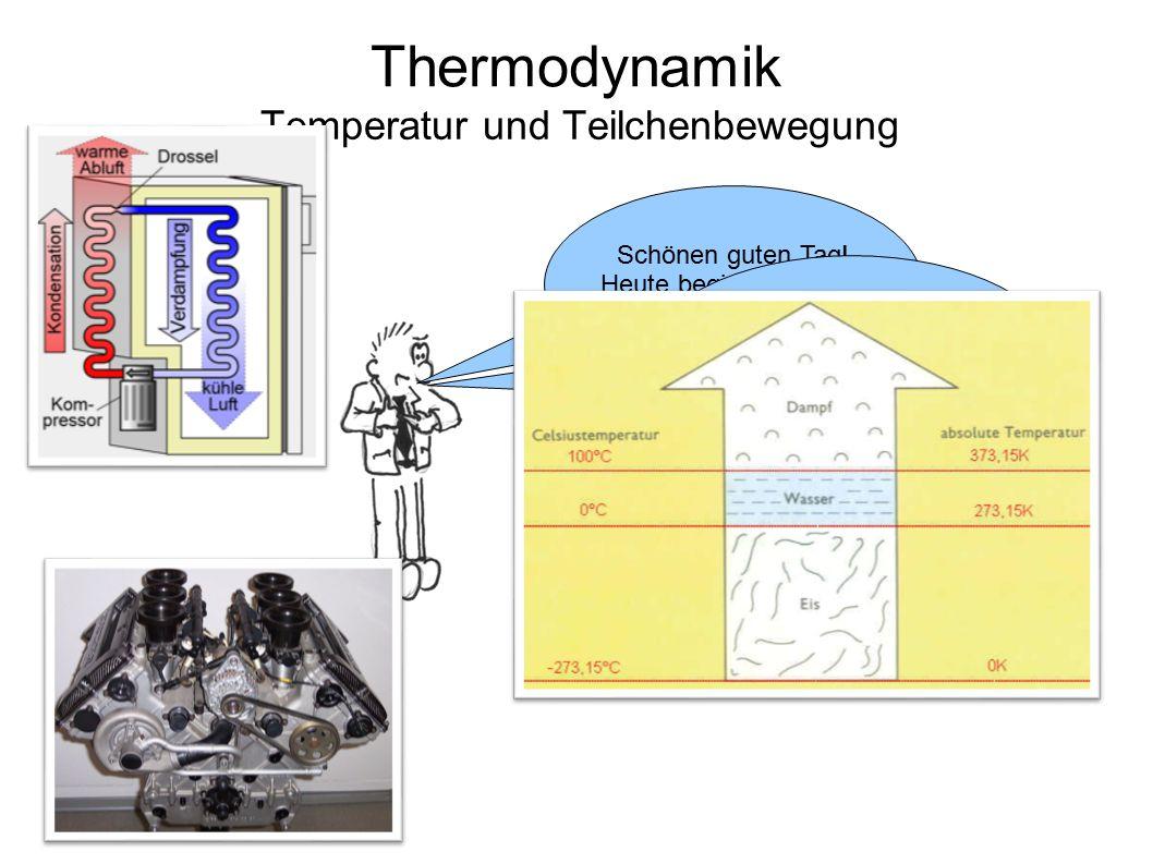 Thermodynamik Temperatur und Teilchenbewegung Schönen guten Tag! Heute beginnen wir ein neues Thema … … die Wärmelehre, oder besser: die Thermodynamik