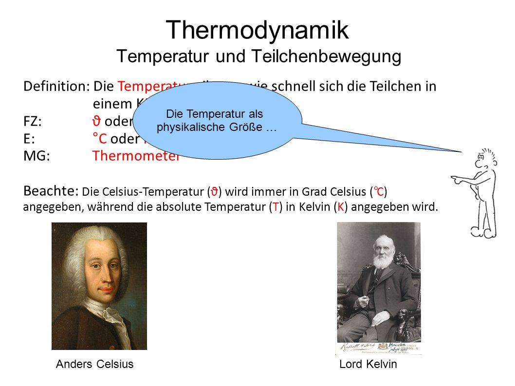 Definition: Die Temperatur gibt an, wie schnell sich die Teilchen in einem Körper bewegen. FZ: ϑ oder T E:°C oder K MG:Thermometer Beachte: Die Celsiu