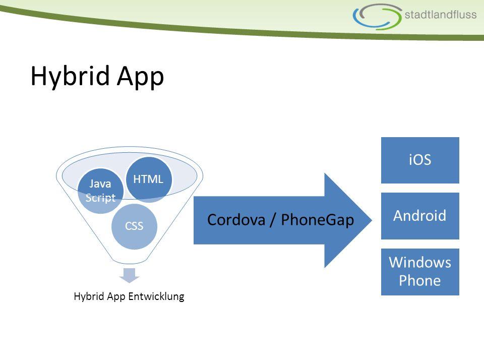 Übersicht Hybrid jagutmittelja Web jagutgering/mittelnur GPS Native neinbestesehr hochja PlattformübergreifendPerformanceKosten Device Capabilities (Kamera, Filesystem etc.)