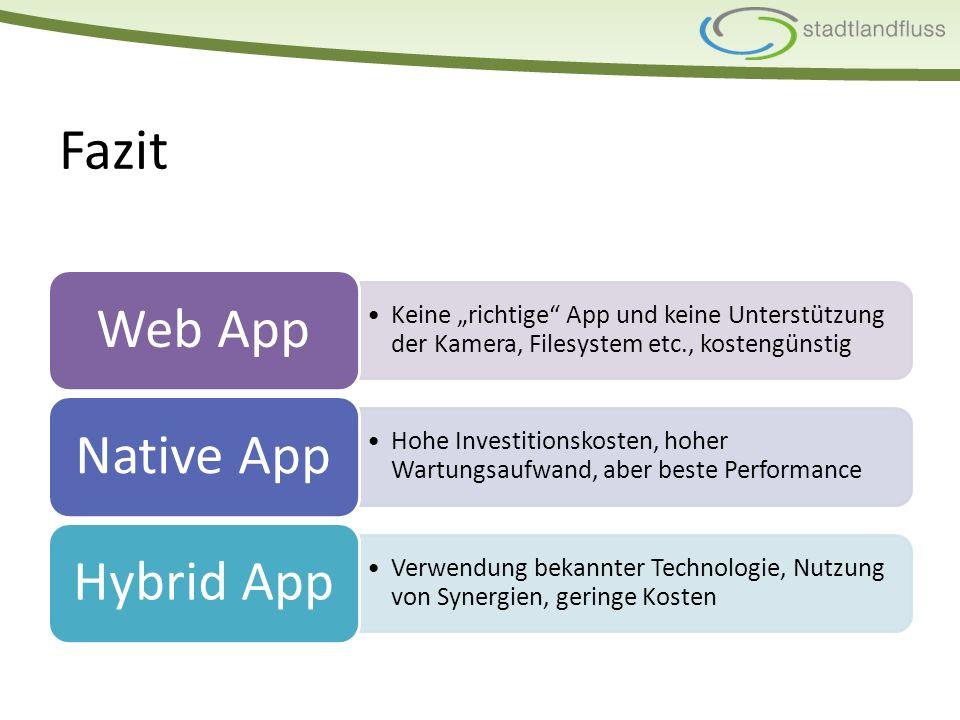 """Fazit Keine """"richtige App und keine Unterstützung der Kamera, Filesystem etc., kostengünstig Web App Hohe Investitionskosten, hoher Wartungsaufwand, aber beste Performance Native App Verwendung bekannter Technologie, Nutzung von Synergien, geringe Kosten Hybrid App"""