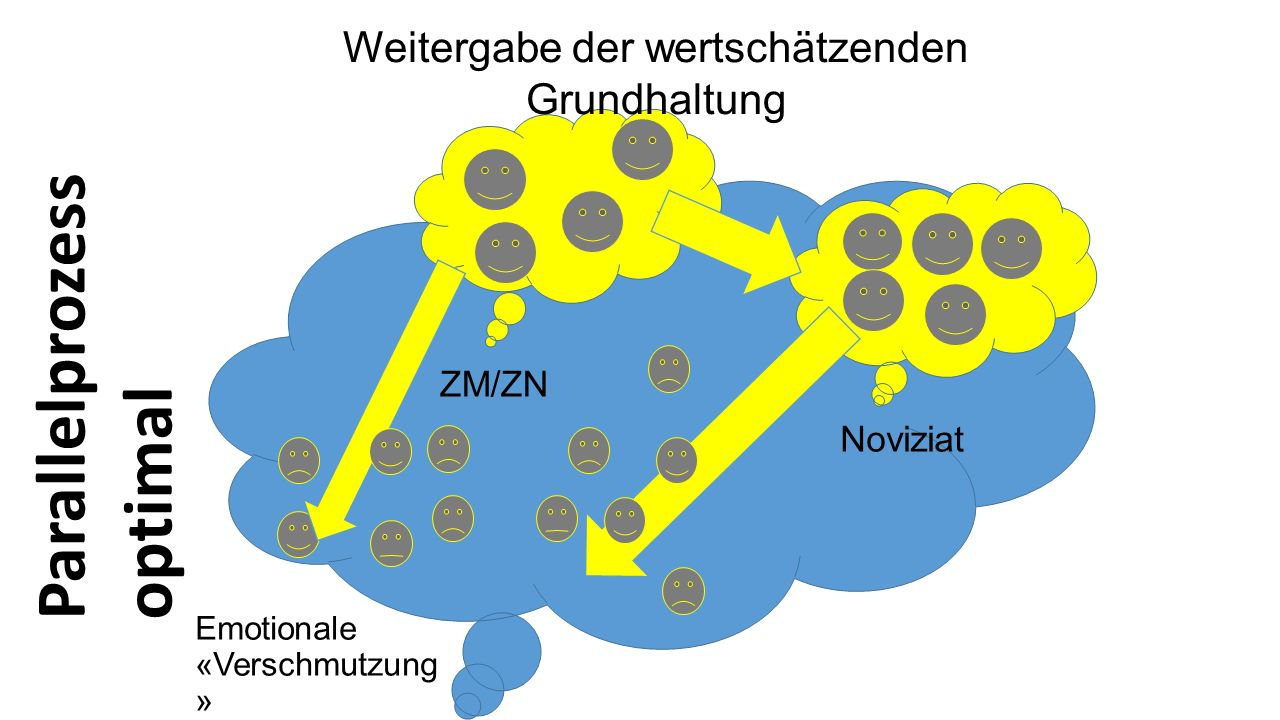 Emotionale «Verschmutzung » Noviziat ZM/ZN Weitergabe der wertschätzenden Grundhaltung Parallelprozess optimal