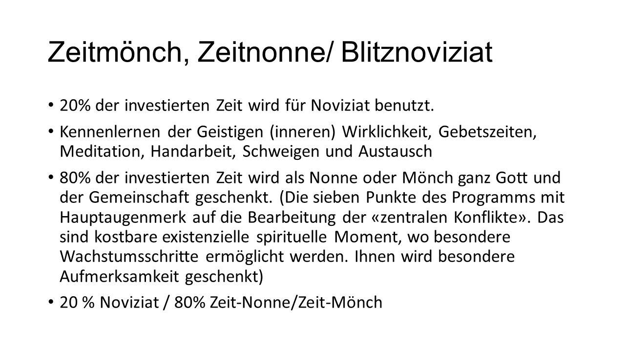 Zeitmönch, Zeitnonne/ Blitznoviziat 20% der investierten Zeit wird für Noviziat benutzt.