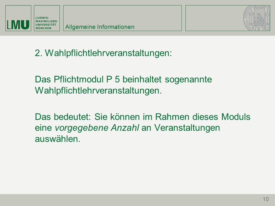 10 Allgemeine Informationen 2.