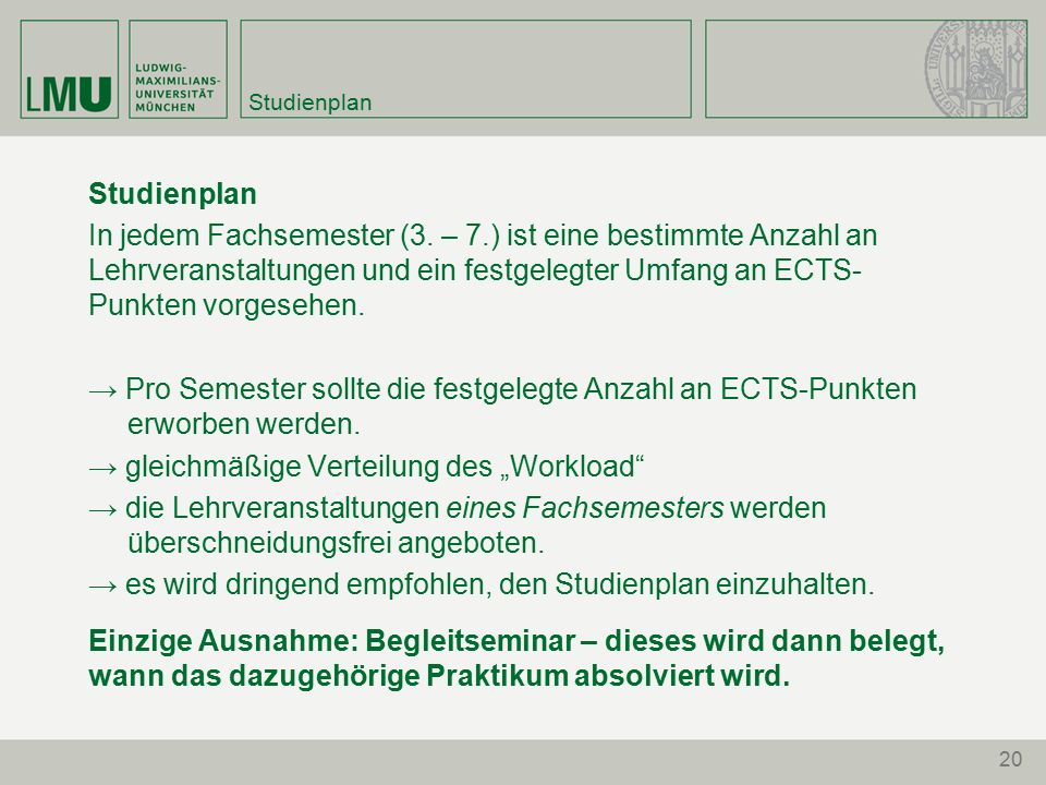 20 Studienplan In jedem Fachsemester (3.