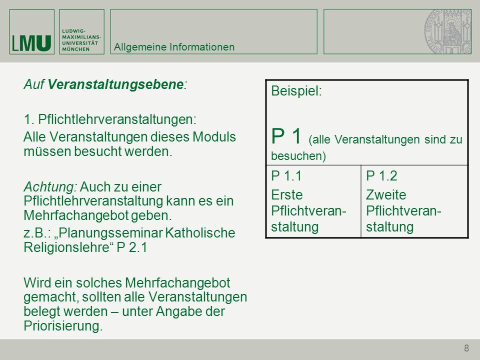 8 Allgemeine Informationen Auf Veranstaltungsebene: 1.