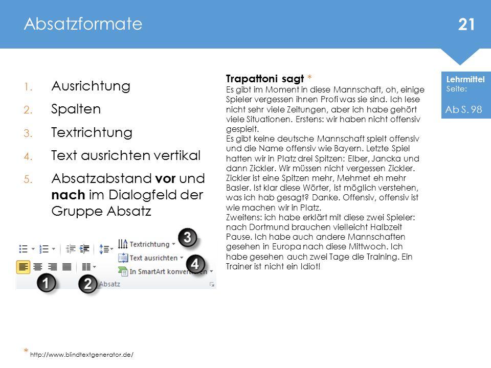 Lehrmittel Seite: 1. Ausrichtung 2. Spalten 3. Textrichtung 4. Text ausrichten vertikal 5. Absatzabstand vor und nach im Dialogfeld der Gruppe Absatz
