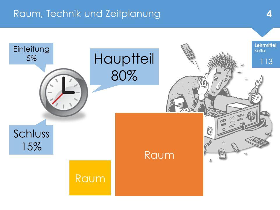 Lehrmittel Seite: Raum, Technik und Zeitplanung Raum Einleitung 5% Schluss 15% Hauptteil 80% 4 113