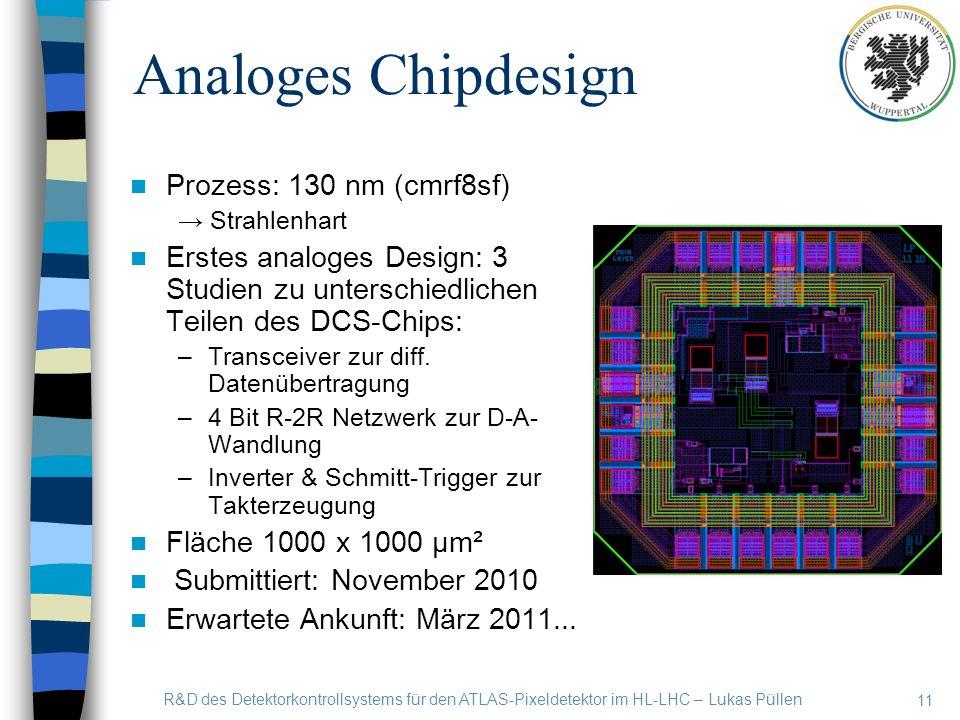 Analoges Chipdesign Prozess: 130 nm (cmrf8sf) → Strahlenhart Erstes analoges Design: 3 Studien zu unterschiedlichen Teilen des DCS-Chips: –Transceiver zur diff.