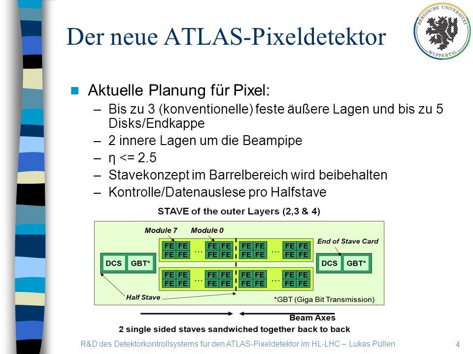 4 R&D des Detektorkontrollsystems für den ATLAS-Pixeldetektor im HL-LHC – Lukas Püllen Der neue ATLAS-Pixeldetektor Aktuelle Planung für Pixel: –Bis zu 3 (konventionelle) feste äußere Lagen und bis zu 5 Disks/Endkappe –2 innere Lagen um die Beampipe –η <= 2.5 –Stavekonzept im Barrelbereich wird beibehalten –Kontrolle/Datenauslese pro Halfstave