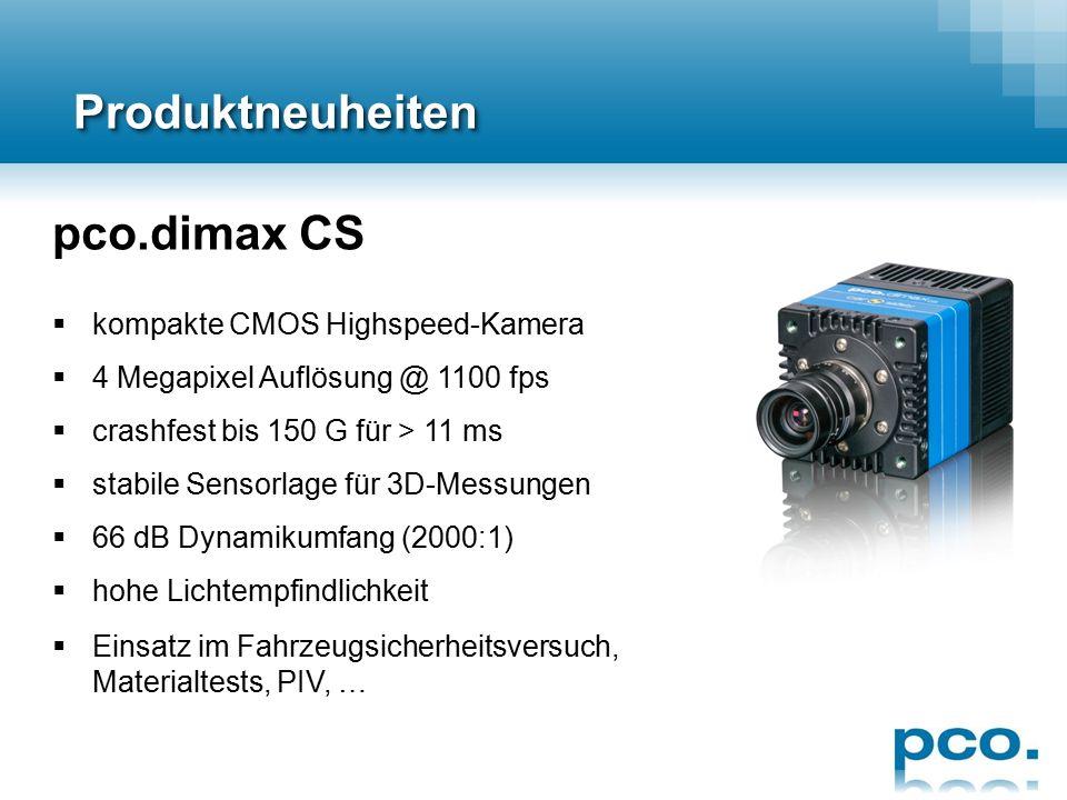 ProduktneuheitenProduktneuheiten pco.edge 4.2 CLHS  sCMOS-Sensor (monochrom)  4.2 Megapixel Auflösung @ 100 fps  82% Quanteneffizienz  91.5 dB Dynamikumfang (37500:1)  0.8 e - Ausleserauschen  Belichtungszeiten von 100µs bis 10s  CameraLink HS-Schnittstelle für Übertragung von 1187 MB/s  Glasfaserkabel für lange Reichweiten