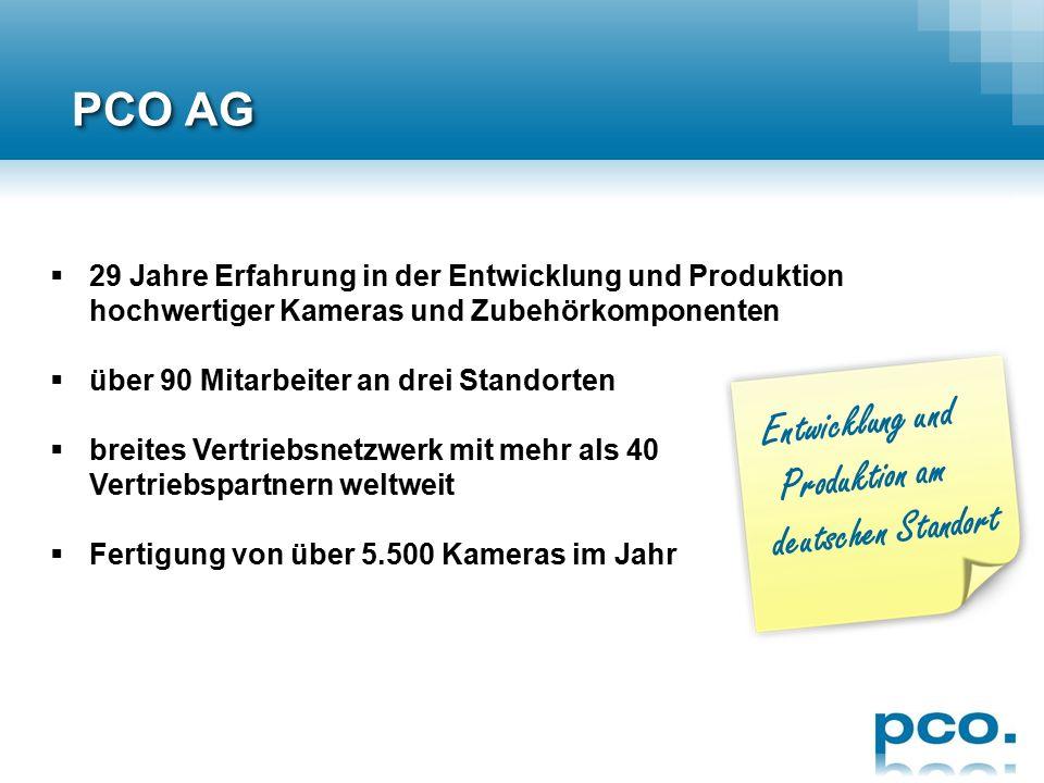  Hersteller von wissenschaftlichen High End-Kamerasystemen  weltweit agierendes Unternehmen  Hauptsitz in Kelheim (Süddeutschland) mit Tochterunternehmen in USA und Singapur PCO AG