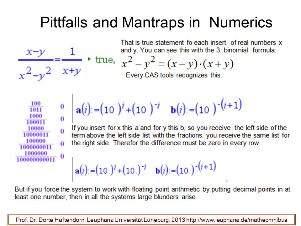 Pittfalls and Mantraps in Numerics Prof.Dr.