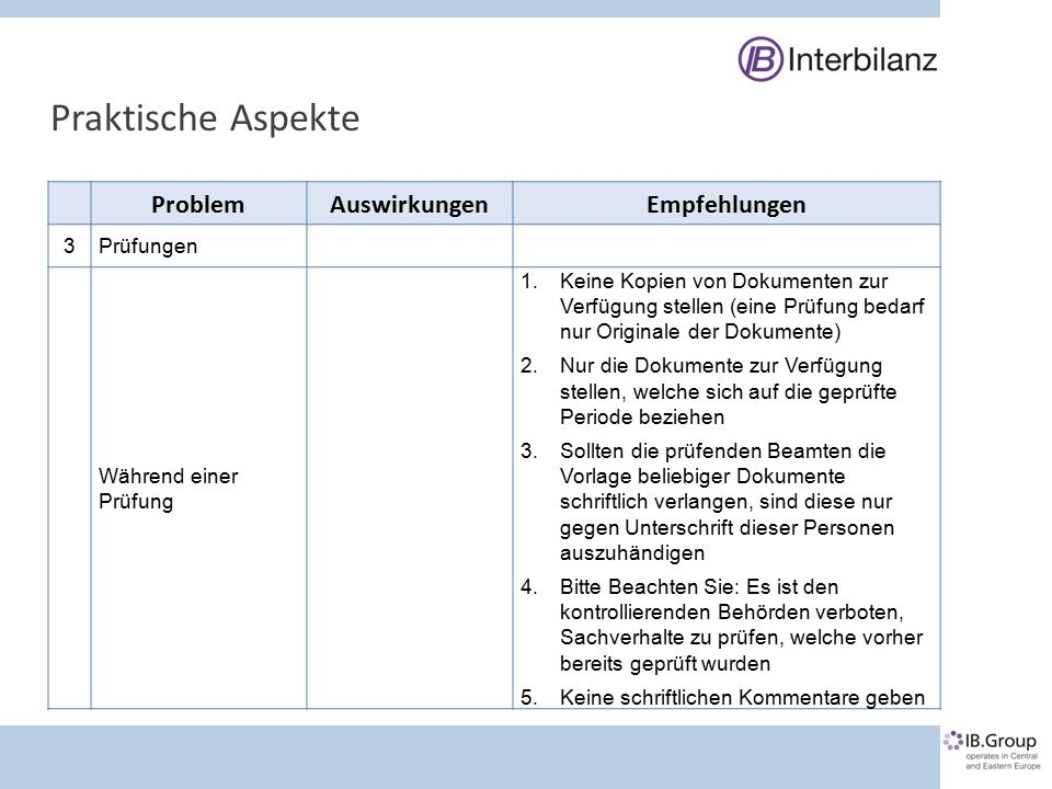 Praktische Aspekte ProblemAuswirkungenEmpfehlungen 3Prüfungen Während einer Prüfung 1.