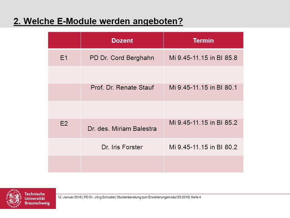 12. Januar 2016 | PD Dr. Jörg Schuster| Studienberatung zum Erweiterungsmodul SS 2016| Seite 4 2.
