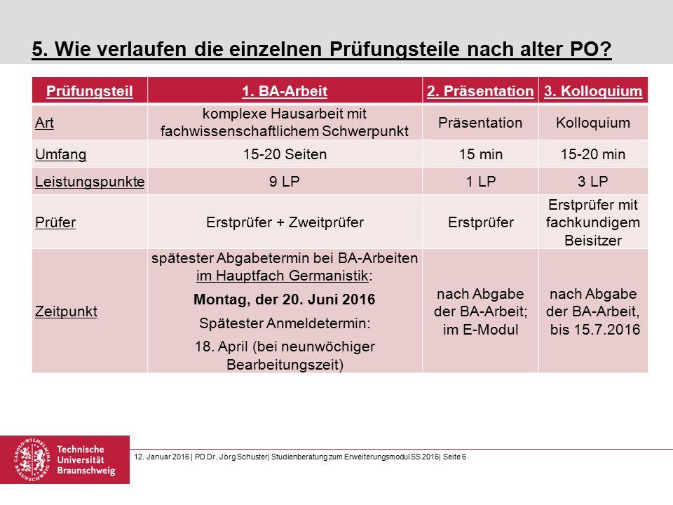 12. Januar 2016 | PD Dr. Jörg Schuster| Studienberatung zum Erweiterungsmodul SS 2016| Seite 6 5.