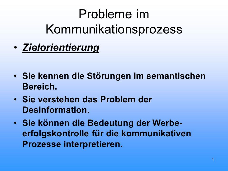 1 Probleme im Kommunikationsprozess Zielorientierung Sie kennen die Störungen im semantischen Bereich. Sie verstehen das Problem der Desinformation. S