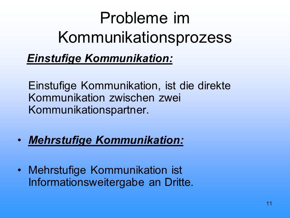 11 Probleme im Kommunikationsprozess Einstufige Kommunikation: Einstufige Kommunikation, ist die direkte Kommunikation zwischen zwei Kommunikationspar