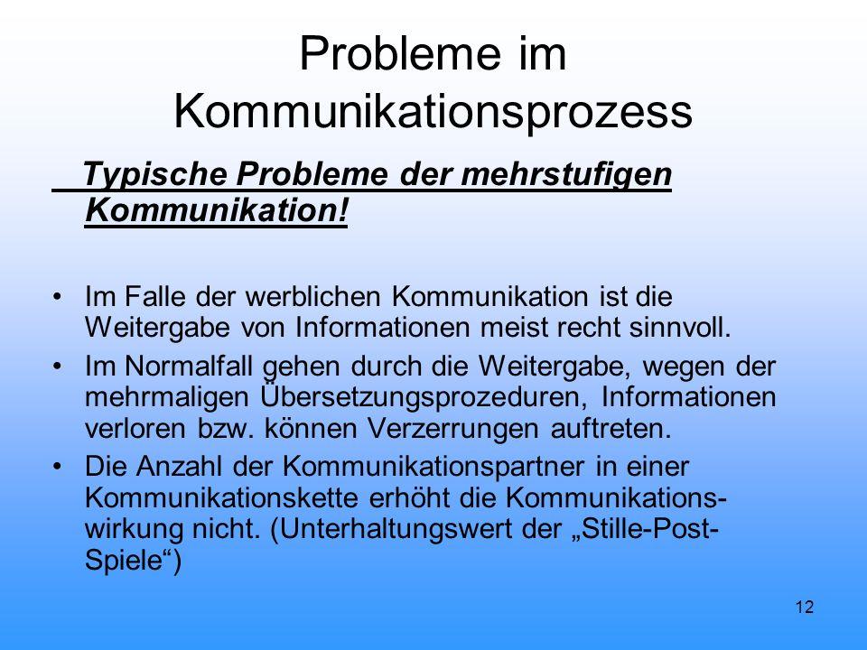 12 Probleme im Kommunikationsprozess Typische Probleme der mehrstufigen Kommunikation! Im Falle der werblichen Kommunikation ist die Weitergabe von In