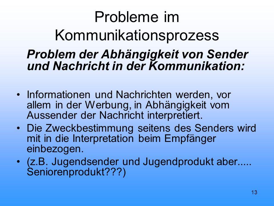 13 Probleme im Kommunikationsprozess Problem der Abhängigkeit von Sender und Nachricht in der Kommunikation: Informationen und Nachrichten werden, vor