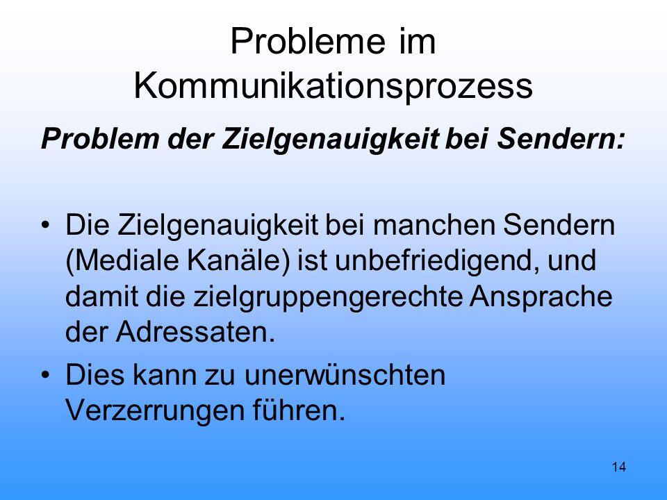 14 Probleme im Kommunikationsprozess Problem der Zielgenauigkeit bei Sendern: Die Zielgenauigkeit bei manchen Sendern (Mediale Kanäle) ist unbefriedig