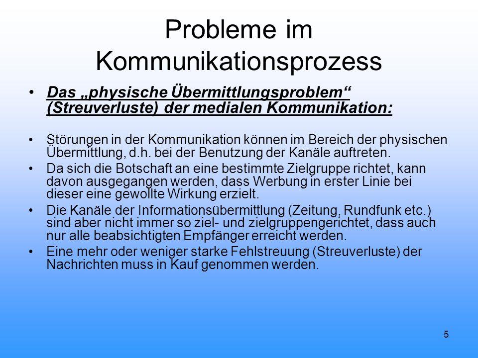 """5 Probleme im Kommunikationsprozess Das """"physische Übermittlungsproblem"""" (Streuverluste) der medialen Kommunikation: Störungen in der Kommunikation kö"""