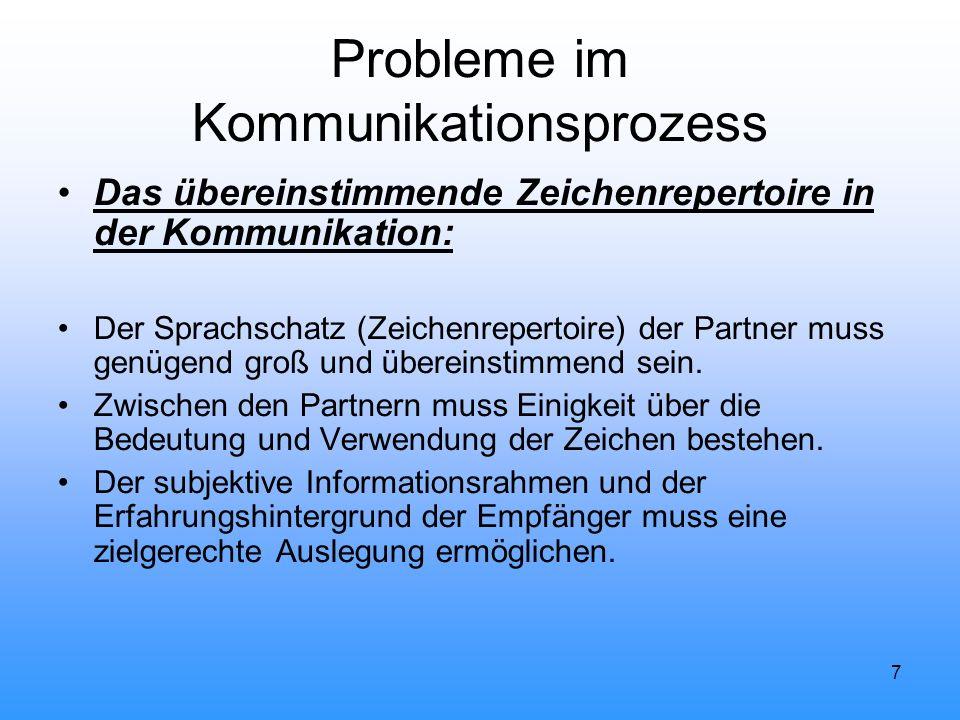 7 Probleme im Kommunikationsprozess Das übereinstimmende Zeichenrepertoire in der Kommunikation: Der Sprachschatz (Zeichenrepertoire) der Partner muss