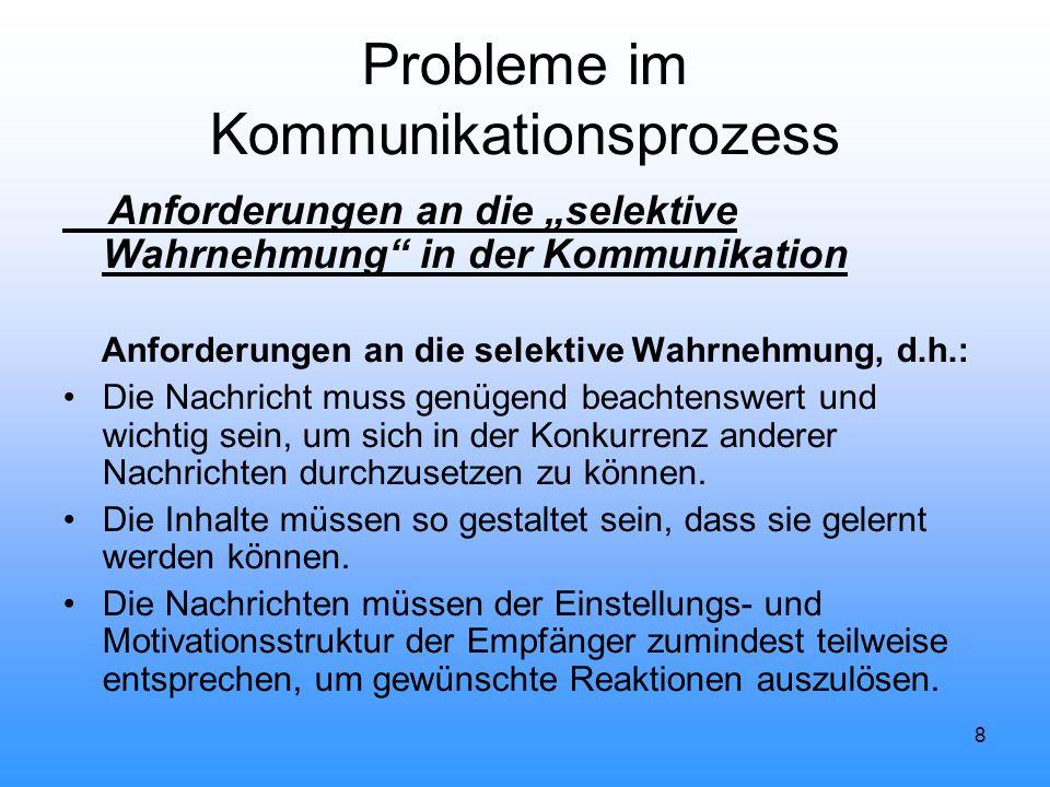 """8 Probleme im Kommunikationsprozess Anforderungen an die """"selektive Wahrnehmung"""" in der Kommunikation Anforderungen an die selektive Wahrnehmung, d.h."""