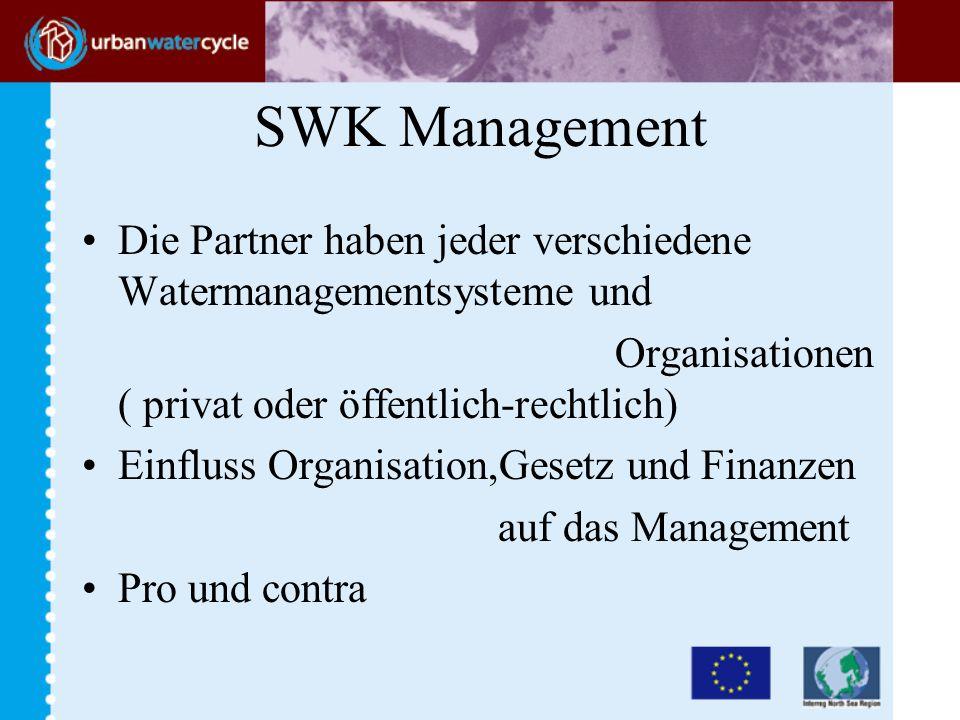 SWK Management Die Partner haben jeder verschiedene Watermanagementsysteme und Organisationen ( privat oder öffentlich-rechtlich) Einfluss Organisation,Gesetz und Finanzen auf das Management Pro und contra