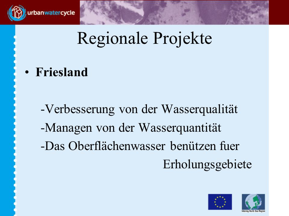Regionale Projekte Friesland -Verbesserung von der Wasserqualität -Managen von der Wasserquantität -Das Oberflächenwasser benützen fuer Erholungsgebiete