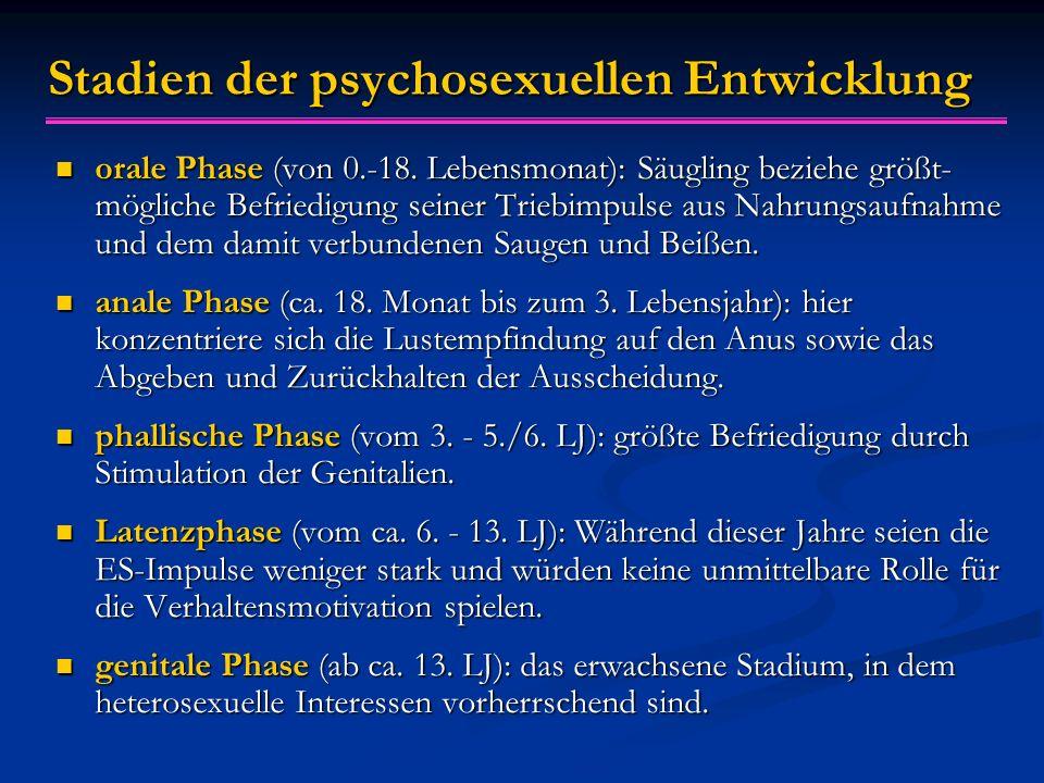 Stadien der psychosexuellen Entwicklung orale Phase (von 0.-18. Lebensmonat): Säugling beziehe größt- mögliche Befriedigung seiner Triebimpulse aus Na