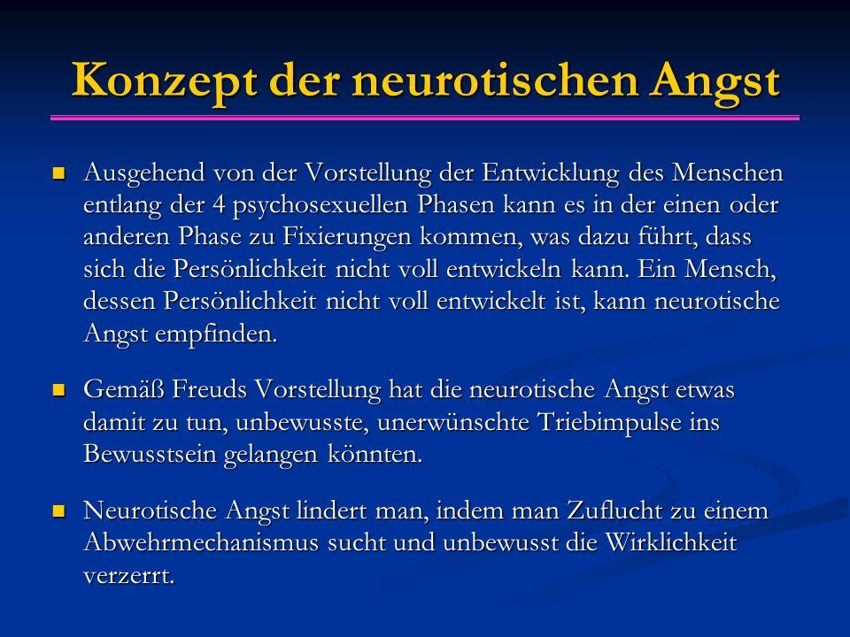 Konzept der neurotischen Angst Ausgehend von der Vorstellung der Entwicklung des Menschen entlang der 4 psychosexuellen Phasen kann es in der einen oder anderen Phase zu Fixierungen kommen, was dazu führt, dass sich die Persönlichkeit nicht voll entwickeln kann.