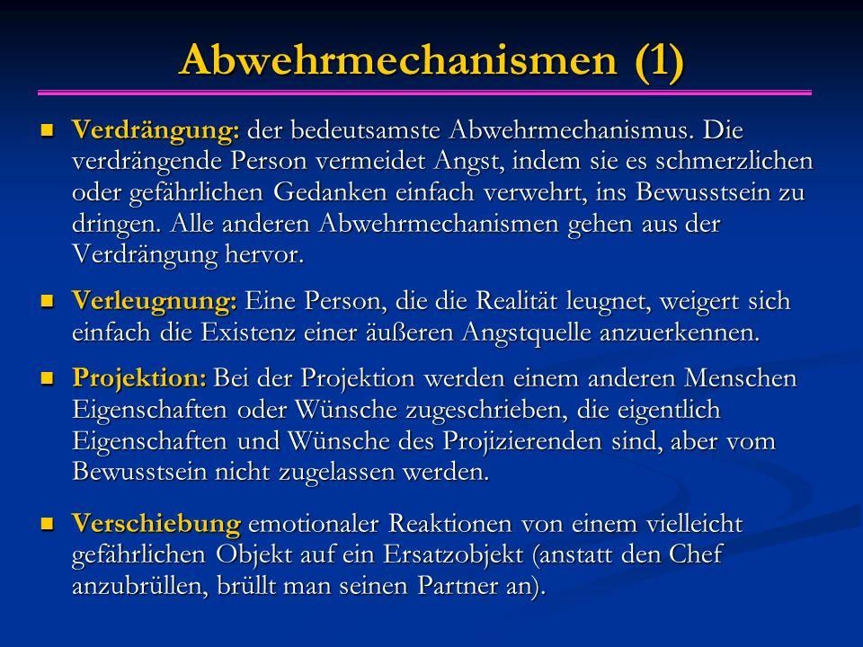 Abwehrmechanismen (1) Verdrängung: der bedeutsamste Abwehrmechanismus. Die verdrängende Person vermeidet Angst, indem sie es schmerzlichen oder gefähr