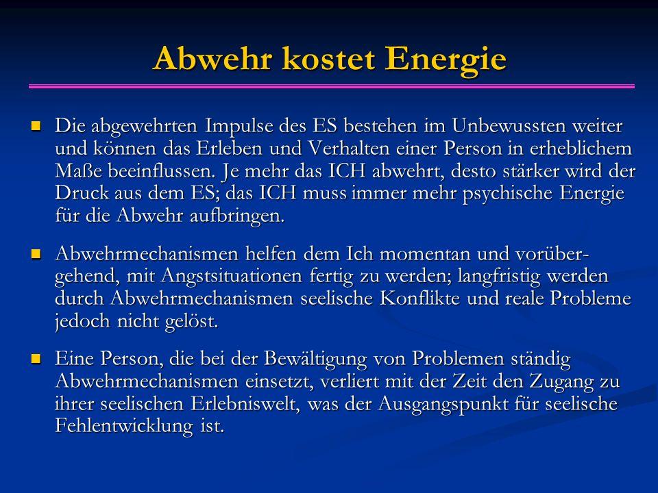 Abwehr kostet Energie Die abgewehrten Impulse des ES bestehen im Unbewussten weiter und können das Erleben und Verhalten einer Person in erheblichem Maße beeinflussen.