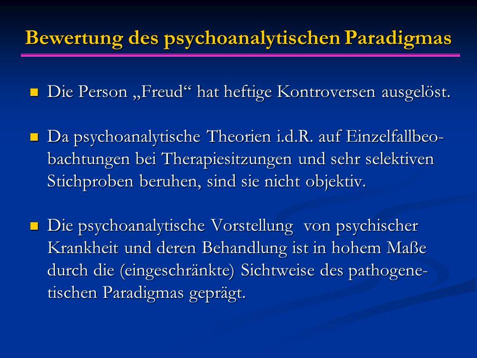 """Bewertung des psychoanalytischen Paradigmas Die Person """"Freud"""" hat heftige Kontroversen ausgelöst. Die Person """"Freud"""" hat heftige Kontroversen ausgelö"""