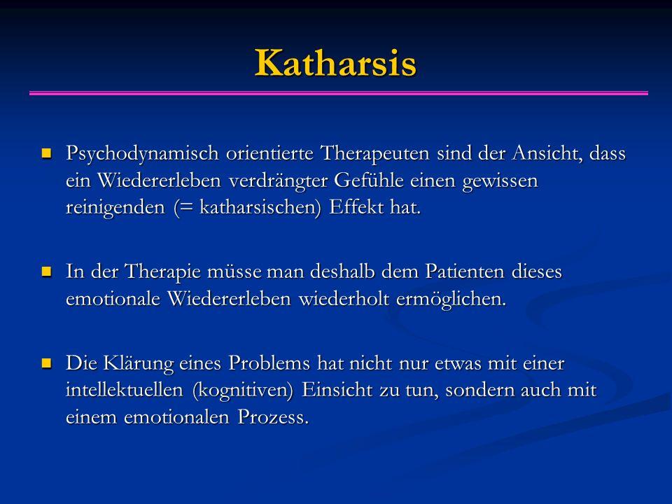 Katharsis Psychodynamisch orientierte Therapeuten sind der Ansicht, dass ein Wiedererleben verdrängter Gefühle einen gewissen reinigenden (= katharsischen) Effekt hat.