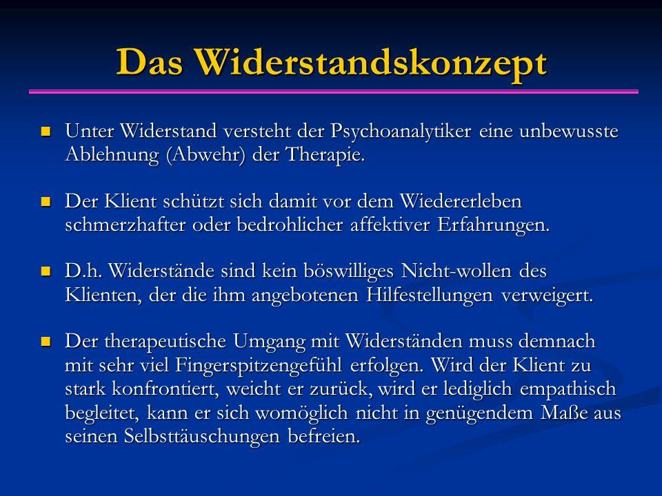 Das Widerstandskonzept Unter Widerstand versteht der Psychoanalytiker eine unbewusste Ablehnung (Abwehr) der Therapie. Unter Widerstand versteht der P