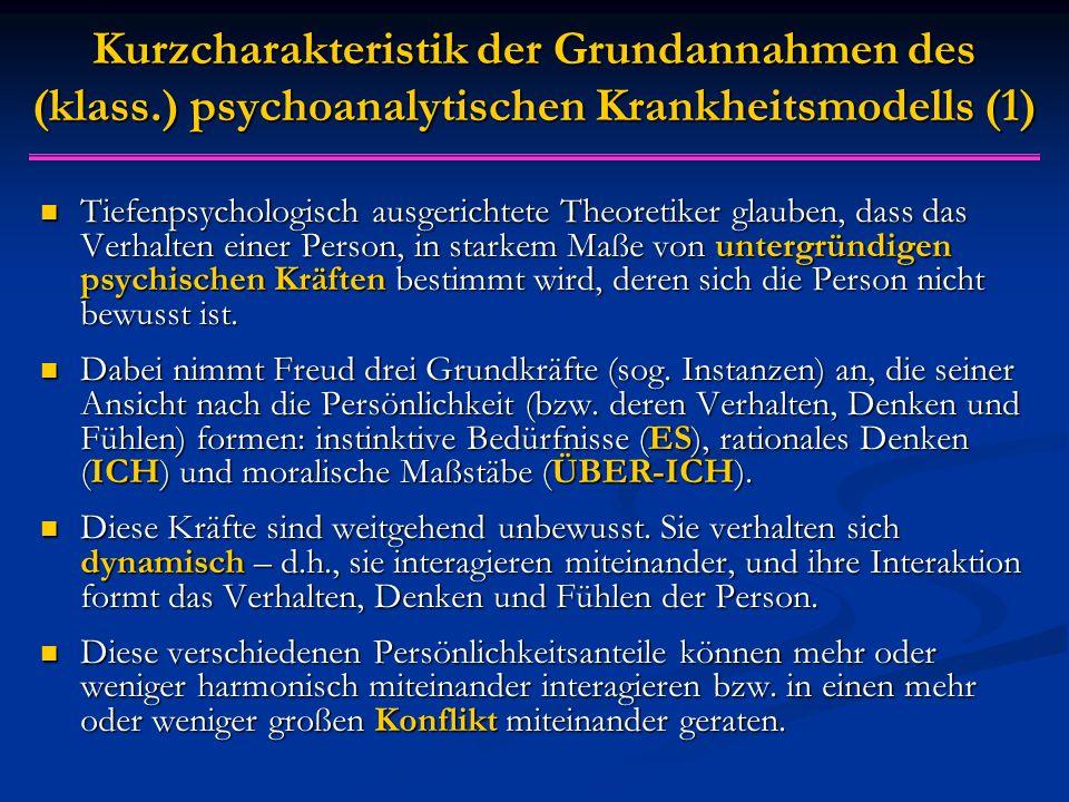 Kurzcharakteristik der Grundannahmen des (klass.) psychoanalytischen Krankheitsmodells (1) Tiefenpsychologisch ausgerichtete Theoretiker glauben, dass