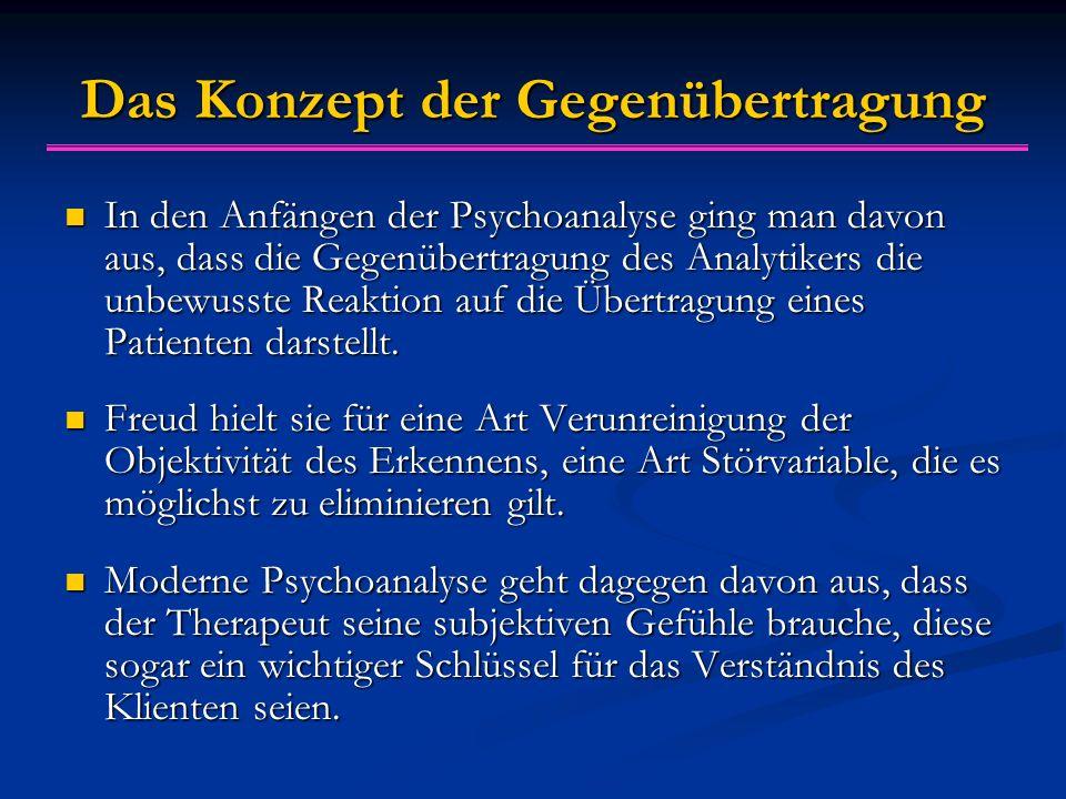 Das Konzept der Gegenübertragung In den Anfängen der Psychoanalyse ging man davon aus, dass die Gegenübertragung des Analytikers die unbewusste Reakti