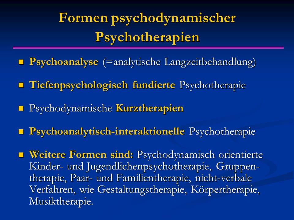 Formen psychodynamischer Psychotherapien Psychoanalyse (=analytische Langzeitbehandlung) Psychoanalyse (=analytische Langzeitbehandlung) Tiefenpsychologisch fundierte Psychotherapie Tiefenpsychologisch fundierte Psychotherapie Psychodynamische Kurztherapien Psychodynamische Kurztherapien Psychoanalytisch-interaktionelle Psychotherapie Psychoanalytisch-interaktionelle Psychotherapie Weitere Formen sind: Psychodynamisch orientierte Kinder- und Jugendlichenpsychotherapie, Gruppen- therapie, Paar- und Familientherapie, nicht-verbale Verfahren, wie Gestaltungstherapie, Körpertherapie, Musiktherapie.