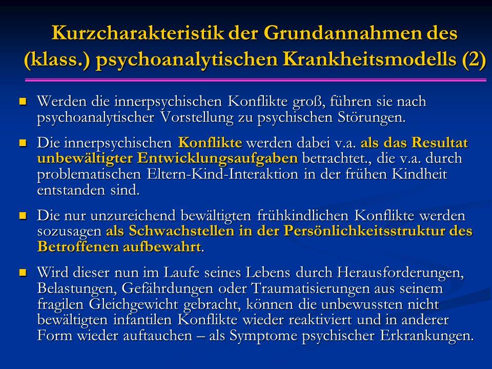 Kurzcharakteristik der Grundannahmen des (klass.) psychoanalytischen Krankheitsmodells (2) Werden die innerpsychischen Konflikte groß, führen sie nach psychoanalytischer Vorstellung zu psychischen Störungen.