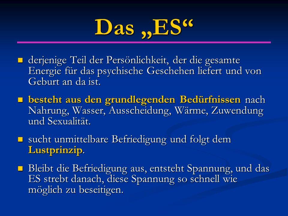 """Das """"ES"""" derjenige Teil der Persönlichkeit, der die gesamte Energie für das psychische Geschehen liefert und von Geburt an da ist. derjenige Teil der"""